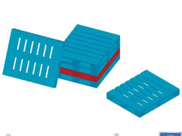 DPB pallets 50 pieces 3d printed Impression of a few pallets