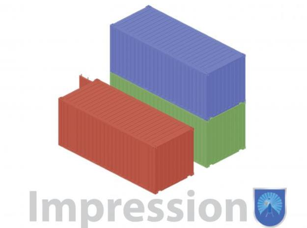 20ft shipping container 12 pieces 3d printed Impression of a few shippingcontainers type A (in red) and type B (in green and blue)