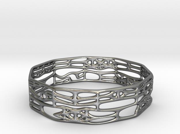 Voronoi Decagonal Bracelet in Fine Detail Polished Silver