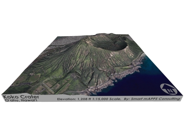 "Koko Crater Map: 6""x6"" in Coated Full Color Sandstone"