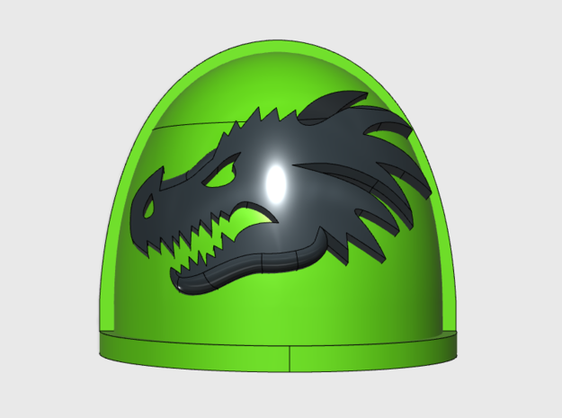 Dragon Head- G4 Left Shoulder Pads x10 in Smooth Fine Detail Plastic