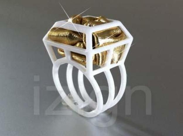 ring06 21 3d printed White Strong & Flexible Polished dressed up with a piece of gold fabric
