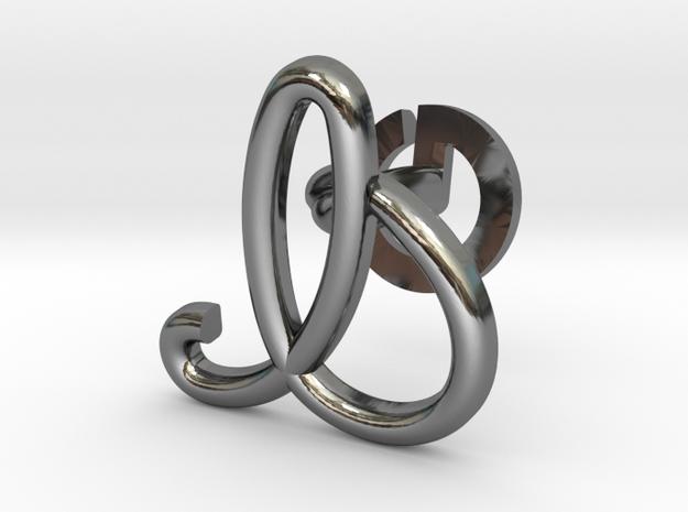Cursive I Cufflink in Fine Detail Polished Silver