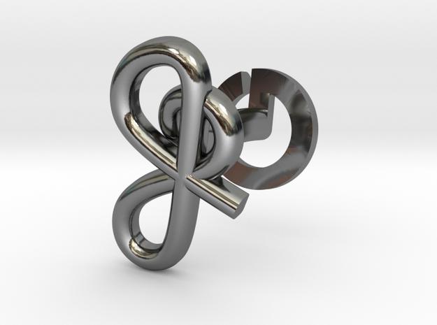 Cursive J Cufflink in Fine Detail Polished Silver