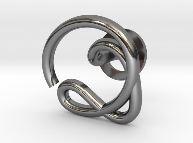 Cursive Q Cufflink in Fine Detail Polished Silver