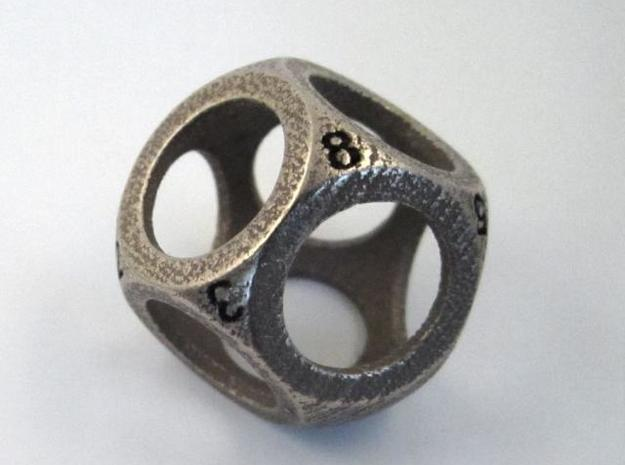 D8 Shell Dice 3d printed In Stainless Steel with manually inked numbers (perspective view)
