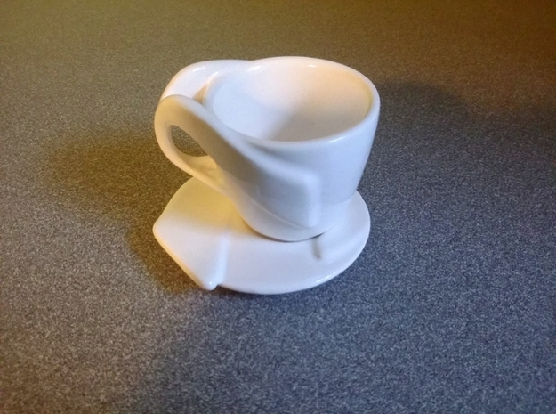 "Espresso Cup Saucer: ""Open Handle"" 3d printed Saucer with Espresso Cup (separately available)"