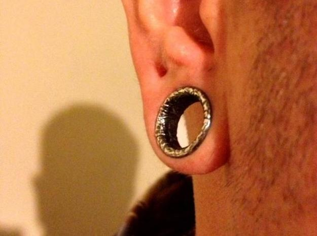Silver Double Flared Flesh Tunnel Plugs - Pair in Raw Silver