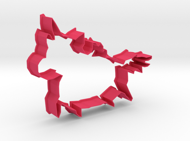 Big Pegacorn Cookie Cutter with big Belly in Pink Strong & Flexible Polished