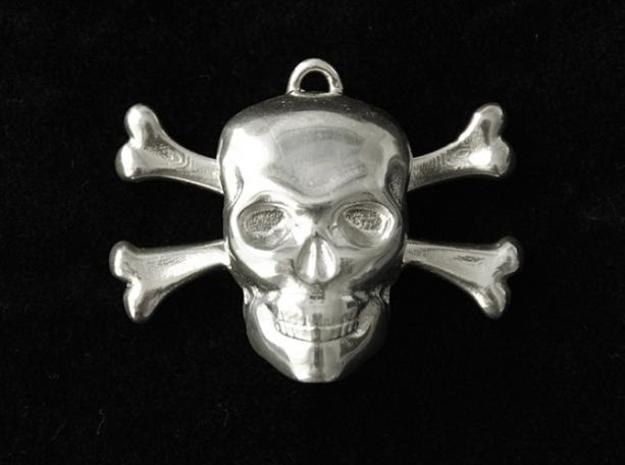 skull and bones pendant 3d printed frontal