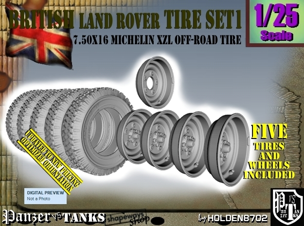 1/25 Land Rover 750x16 Tires and wheels Set001 in Frosted Ultra Detail