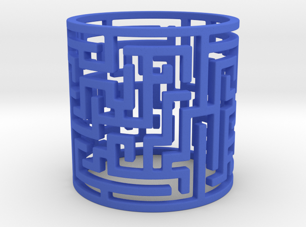Puzzle Tunnel Ring Size 7.5/55.5  in Blue Processed Versatile Plastic: 7.5 / 55.5