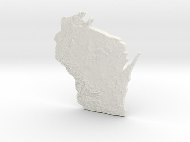 Wisconsin Christmas Ornament in White Natural Versatile Plastic
