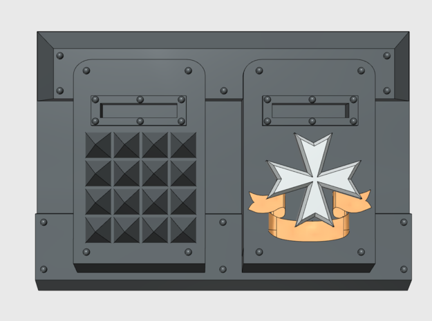 Spiked Maltese Cross : M1a Troop Tank Front in Frosted Ultra Detail