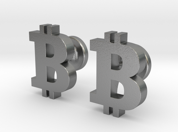 Bitcoin Cufflinks in Natural Silver
