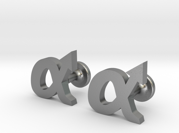 alpha cufflinks in Natural Silver