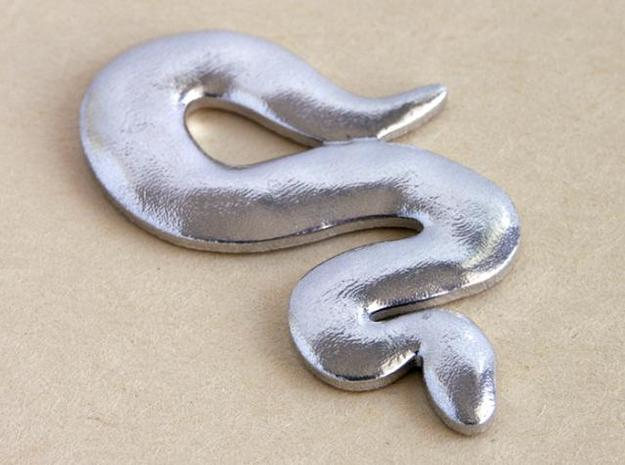 Snake Pendant - silver 3d printed