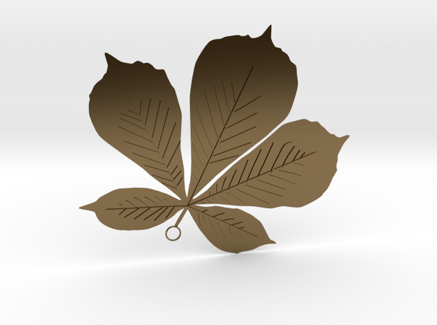 Sycamore Leaf Pendant in Polished Bronze