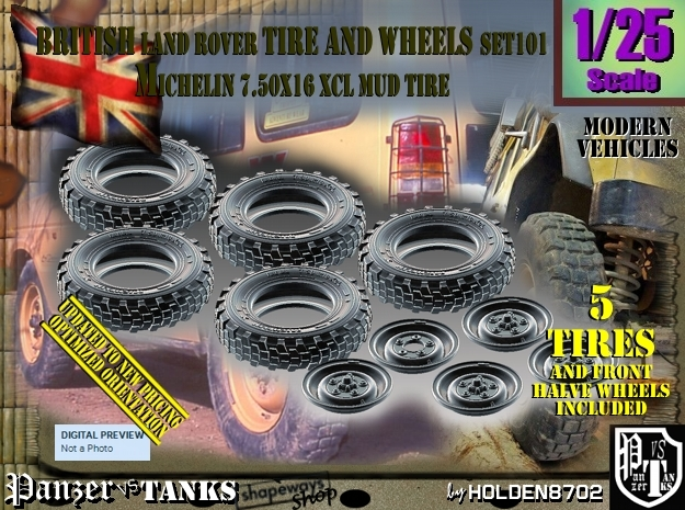 1/25 Land Rover XCL 750x16 Tire and wheels Set101 in Frosted Ultra Detail