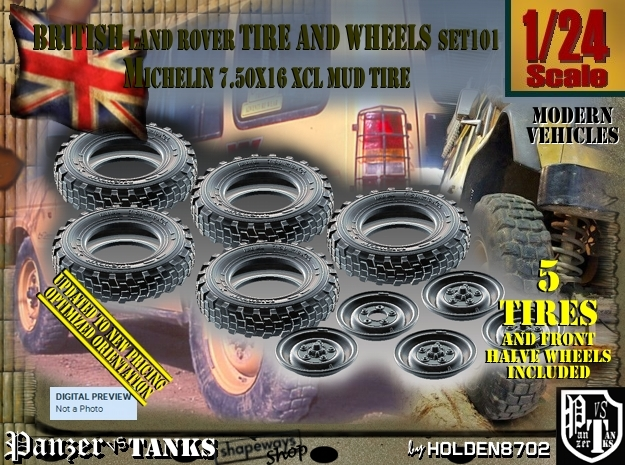 1/24 Land Rover XCL 750x16 Tire and wheels Set101 in Smooth Fine Detail Plastic