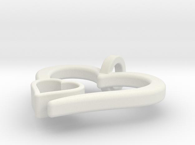 Heart Pendant in White Natural Versatile Plastic: Small