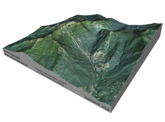 """Mount Mansfield / Stowe Mountain: 6"""" in Coated Full Color Sandstone"""