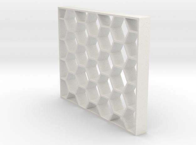 Honeycomb Event Shelving Partition - Geometric Hex in White Natural Versatile Plastic