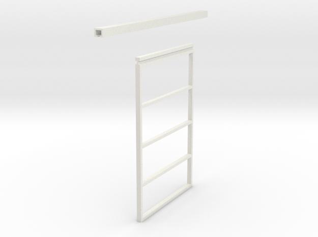 1/64 Single Sliding Machine Shed Door Frame 16 x 1 in White Natural Versatile Plastic
