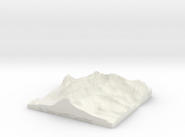 "Mount Whitney: 6""x6"" in White Natural Versatile Plastic"