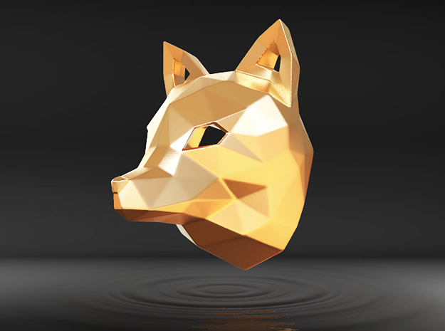 Low Poly Fox Pendant in Polished Gold Steel
