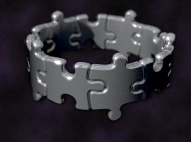 Puzzle Ring 01 size 13 3d printed Rendered to simulate silver