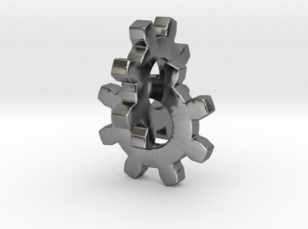 Interlocking Gears in Polished Silver (Interlocking Parts)