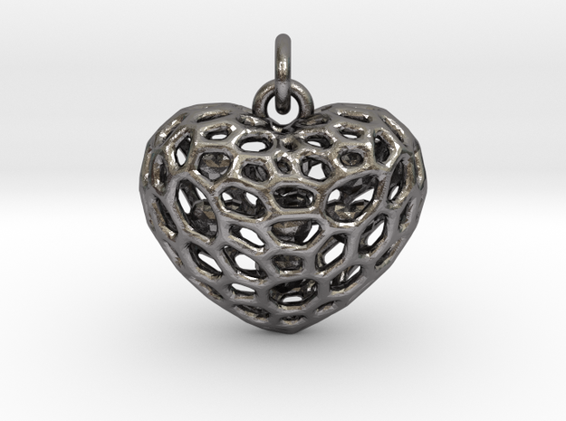 Voronoi heart filled with small hearts