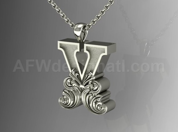 Scroll Letter X – Initial Letter Pendant in Fine Detail Polished Silver