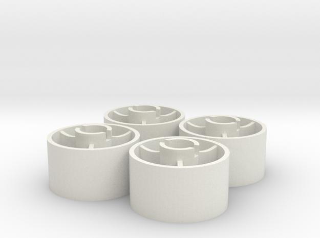 ass 4 jantes arriere D20 plat +1,5 in White Natural Versatile Plastic