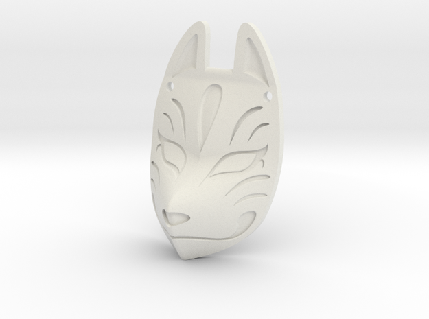 Fox Mask Necklace in White Natural Versatile Plastic