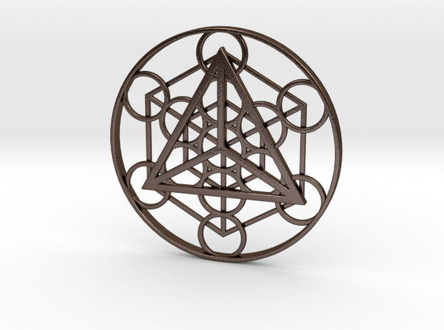 Metatron's Cube - Tetrahedron in Polished Bronze Steel