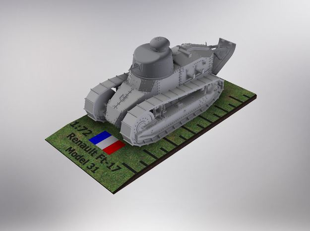 1/72nd scale Renault Ft- 17 Char Model 31 in Smooth Fine Detail Plastic