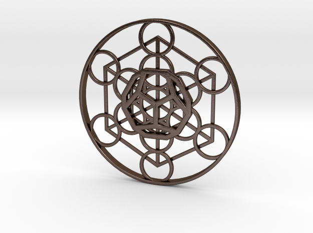 Metatron Cube - Dodecahedron in Polished Bronze Steel
