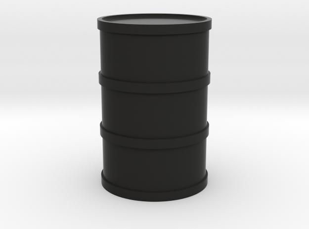 Round Oil Barrel Game Piece in Black Natural Versatile Plastic
