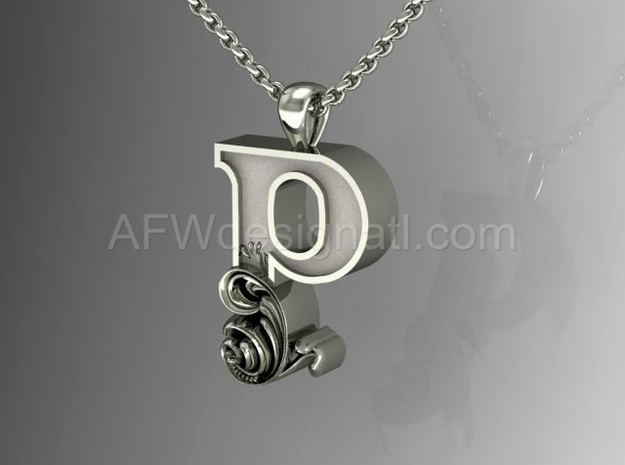 Scroll Letter P – Initial Letter Pendant in Fine Detail Polished Silver