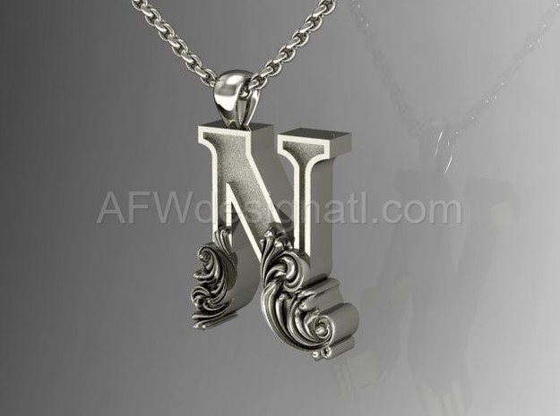 Scroll Letter N – Initial Letter Pendant in Fine Detail Polished Silver