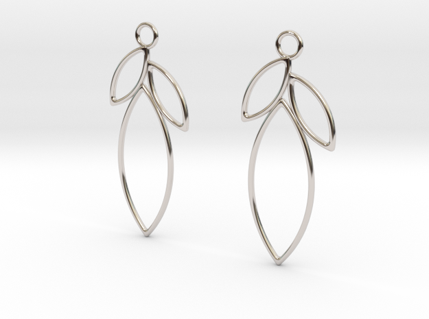 Mandorla Earrings in Rhodium Plated Brass