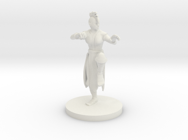 Human Female Monk with Mohawk Cut in White Natural Versatile Plastic