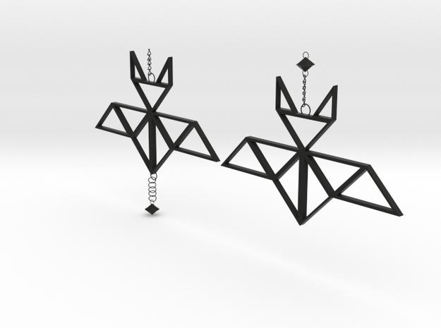 Geometric bat earrings in Black Natural Versatile Plastic: Medium