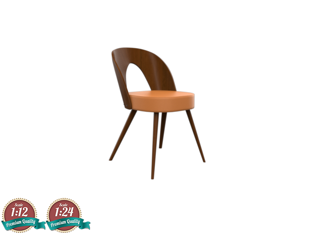 Miniature 1960 Wooden Tatra Chair in White Strong & Flexible: 1:24