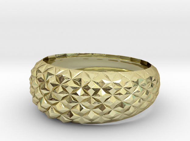Geometric Cristal Ring 2 in 18k Gold Plated Brass