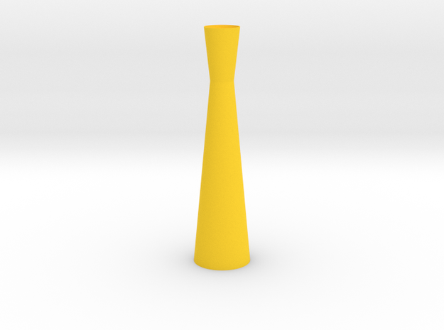 Thin Hourglass Vase in Yellow Processed Versatile Plastic