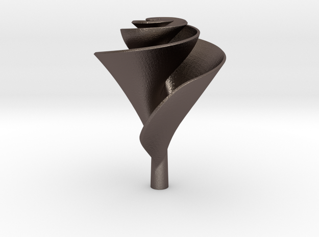 Clockwise Lily Shape Impeller in Polished Bronzed Silver Steel