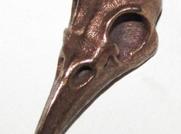 Raven Skull Pendant in Polished Bronze Steel